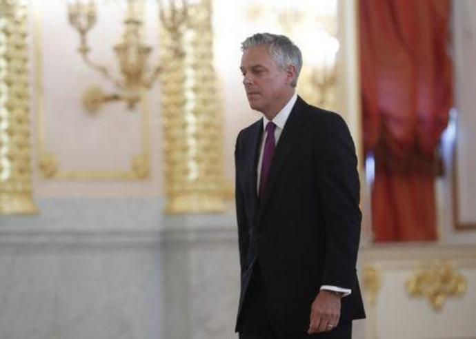 U.S. new ambassador to Russia Huntsman walks after presenting diplomatic credentials to Russian President Putin during a ceremony in Moscow