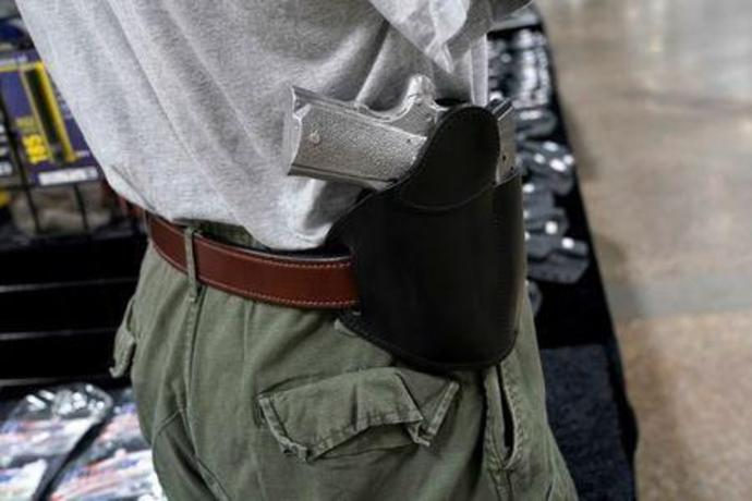 A concealed carry holster is displayed for sale at the Guntoberfest gun show in Oaks, Pennsylvania