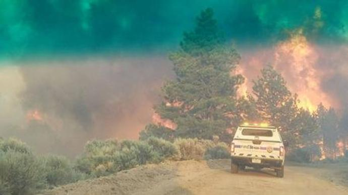Flames rise from a treeline near an emergency vehicle during efforts to contain the Spring Creek Fire in Costilla County