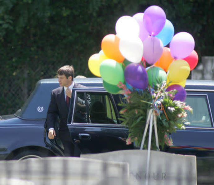 FILE PHOTO: File photo of  Burke Ramsey arriving for the burial service of his mother Patsy Ramsey in Marietta.