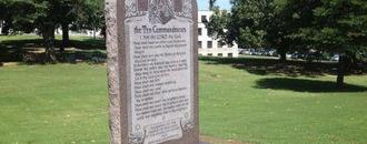 Man arrested for smashing Ten Commandments monument at Arkansas Capitol