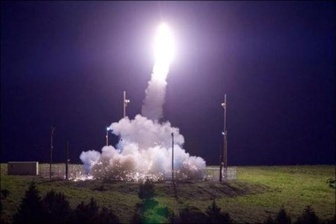 A Terminal High Altitude Area Defense (THAAD) interceptor is launched from the Pacific Spaceport Complex Alaska in Kodiak