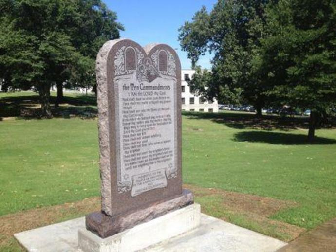 A statue of the Ten Commandments is seen after it was installed on the grounds of the state Capitol in Little Rock