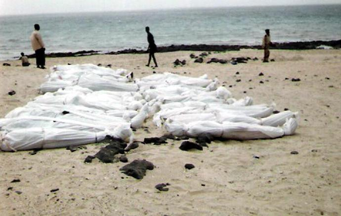 A photo taken in March 2006 and obtained from the United Nations High Commissioner for Refugees (UNHCR) shows the bodies of young men believed to be Somali refugees, found on Yemen