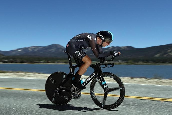 Jonathan Dibben of Great Britain and Team SKY rides past Big Bear Lake during stage 6 of the Tour of California