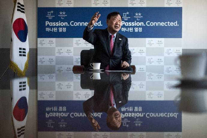 This photo taken on February 2, 2017 shows Lee Hee-Beom, president and CEO of the Pyeongchang Organising Committee for the Olympic Games (POCOG), speaking to AFP at his office in Pyeongchang