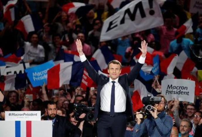 Emmanuel Macron, head of the political movement En Marche !
