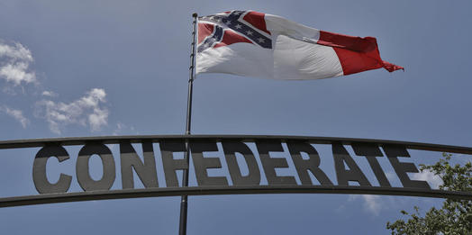 Huge Confederate flag near Interstate is one man